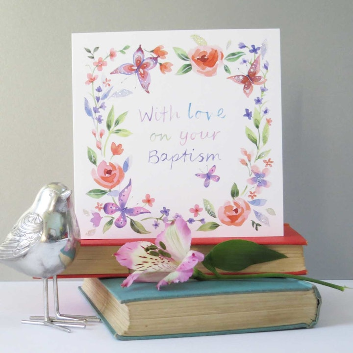 Baptism Butterflies Card - 1 Corinthians 2:5 - Forget-Me-Not Christian Cards