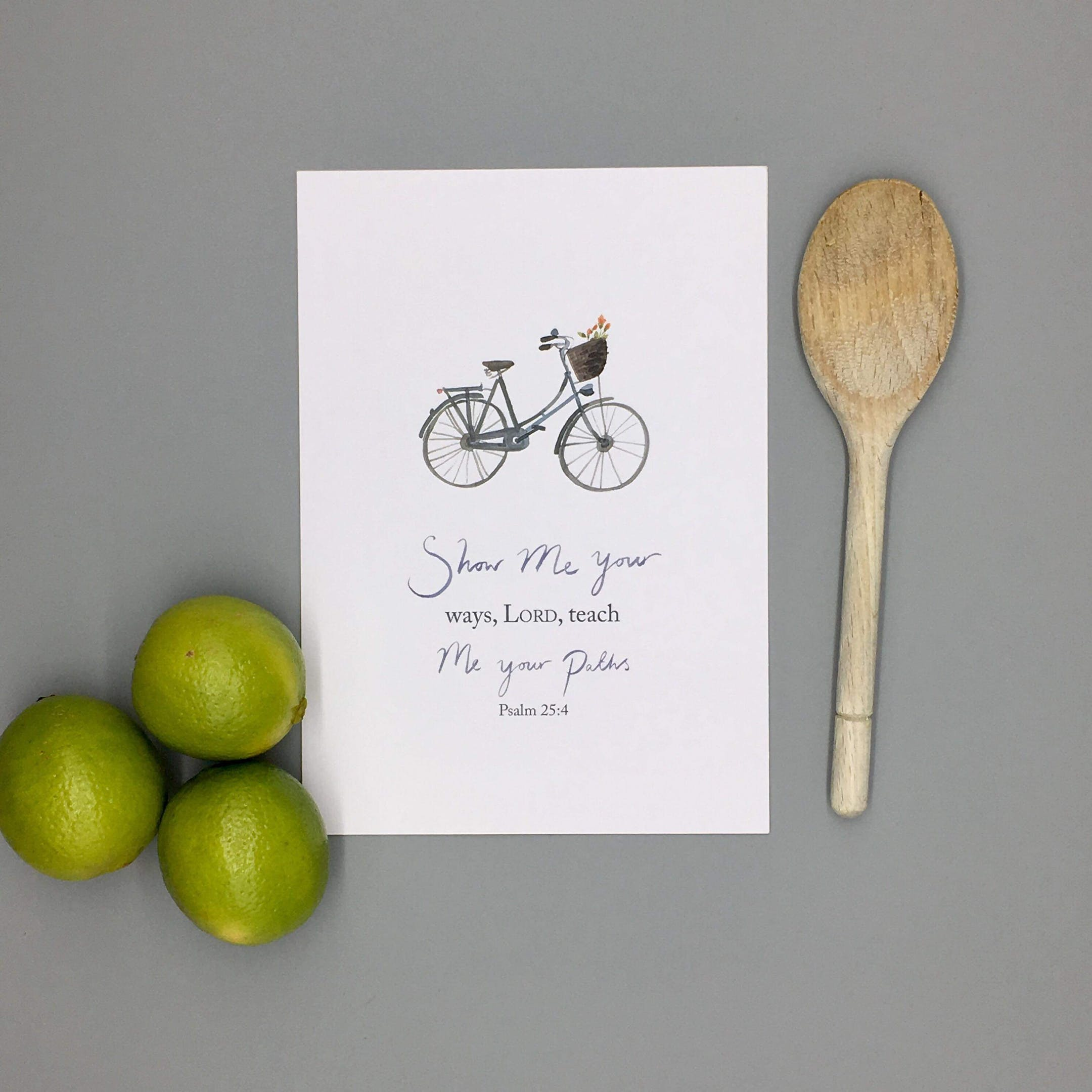 Bicycle Teach Me Print - Psalm 25:4 - Forget-Me-Not Christian Cards