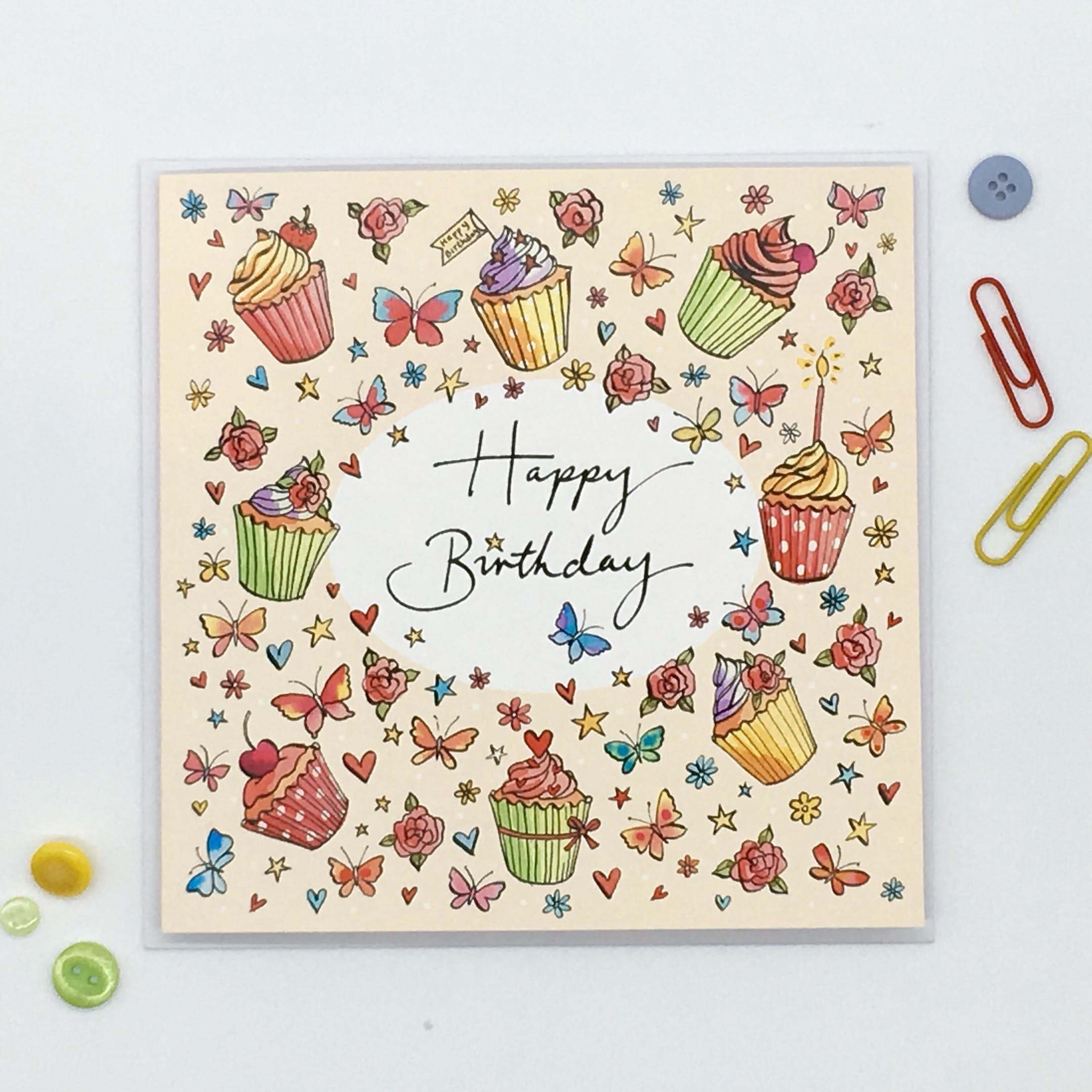 Birthday Cupcake Card - Romans 15:13 - Forget-Me-Not Christian Cards
