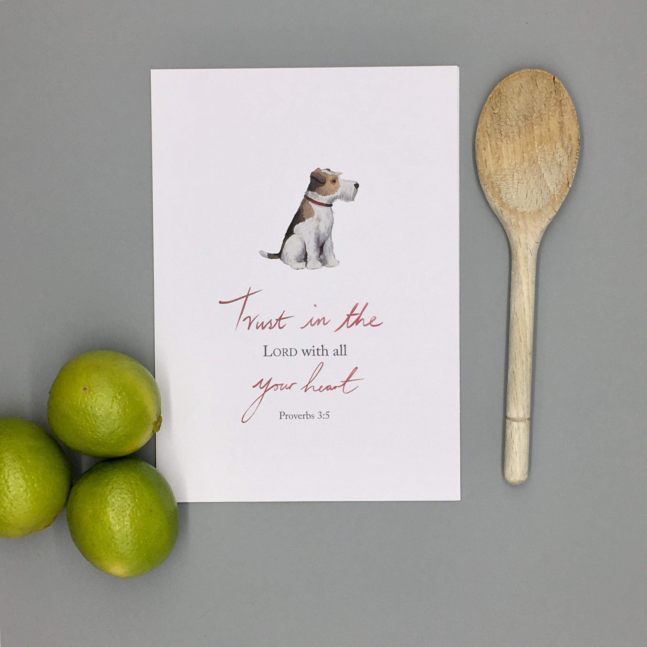 Dog Trust Print - Proverbs 3:5 - Forget-Me-Not Christian Cards