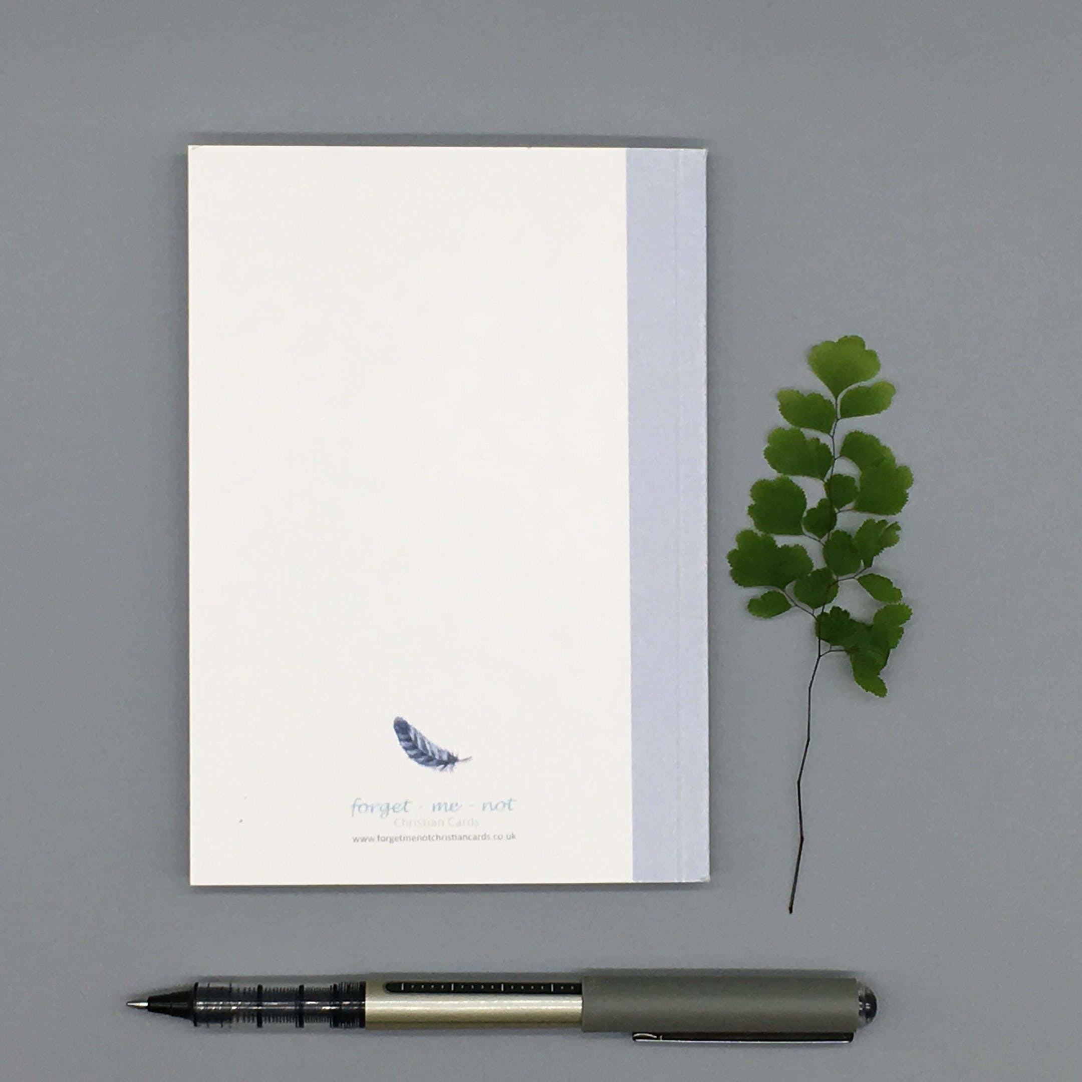 Feather Back - Under His Wings Notebook - Psalm 91:4 - Forget-Me-Not Christian Cards