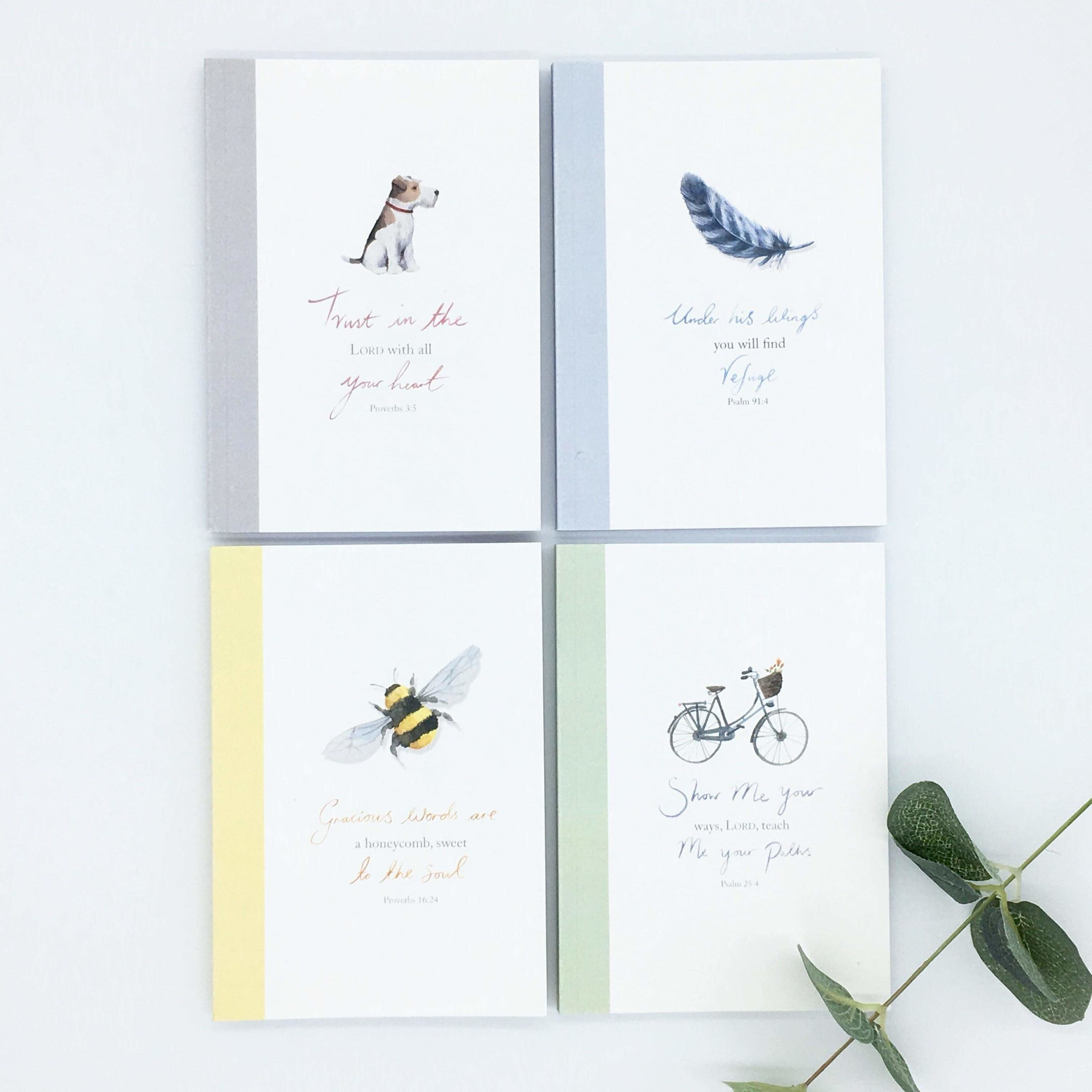 Feather, Bee, Dog, Bike Notebooks - Forget-Me-Not Christian Cards