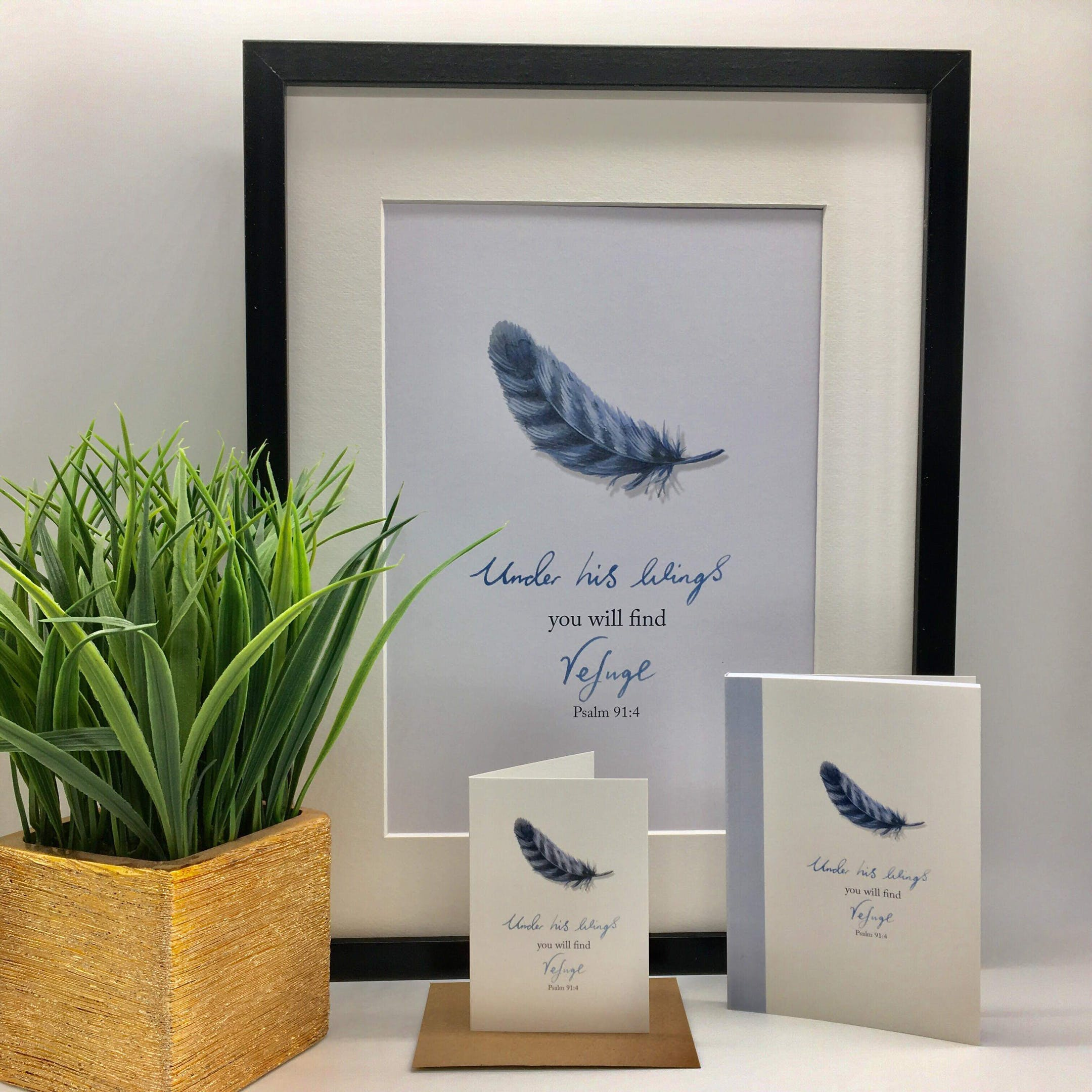 Feathers Under His Wings Psalm 91:4 - Forget-Me-Not Christian Cards