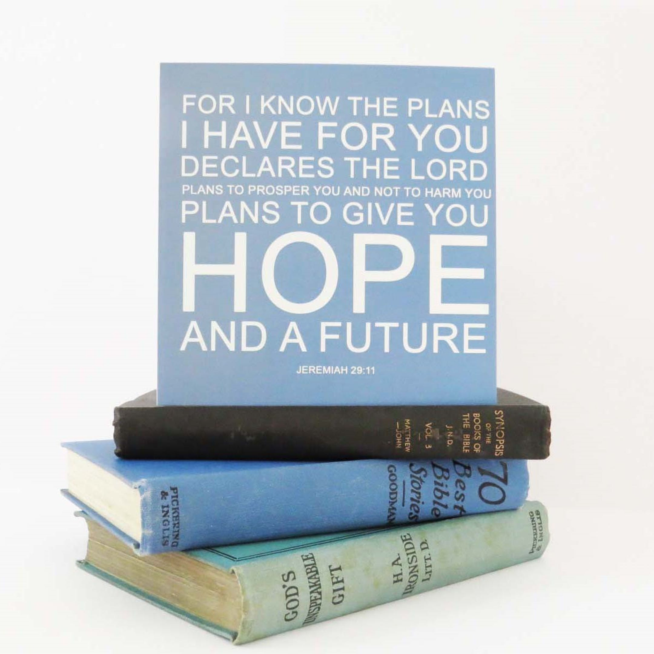 'For I Know The Plans' Blank Card - Jeremiah 29:11 - Forget-Me-Not Christian Cards