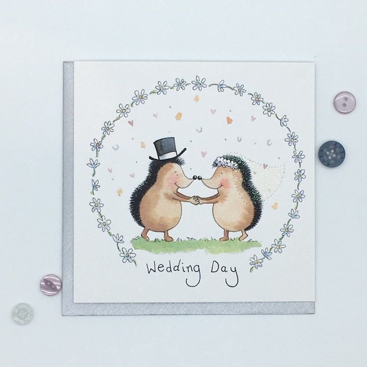 Hedgehogs Wedding Card - 1 John 4:7 - Forget-Me-Not Christian Cards