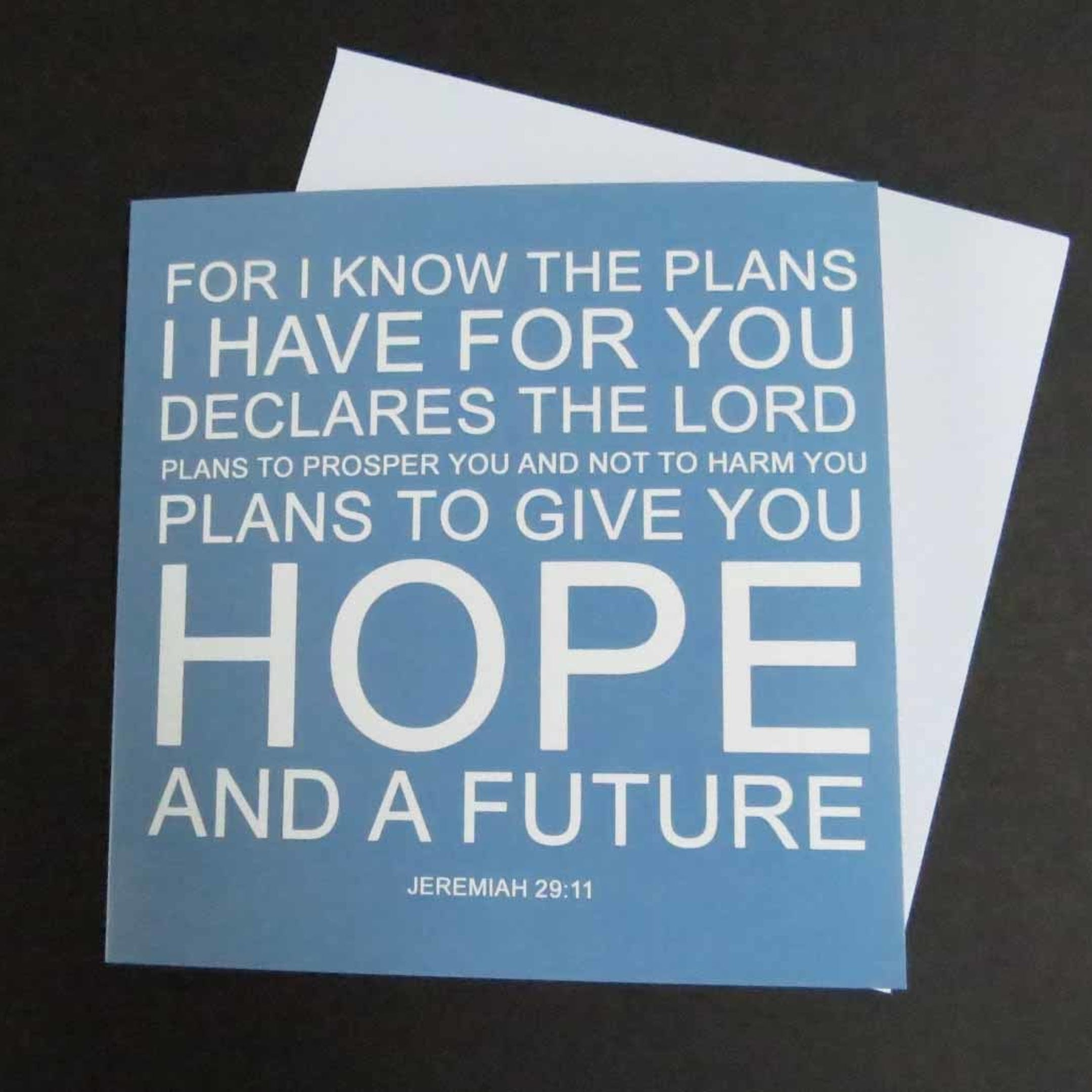 Jeremiah 29:11 Typograph Card - Forget-Me-Not Christian Cards