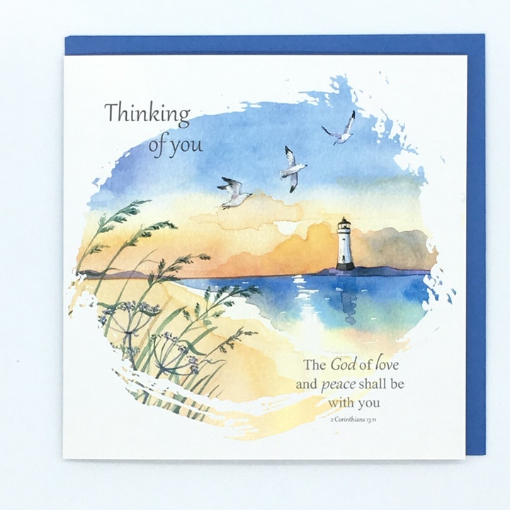 Lighthouse Thinking of You Card - Forget-Me-Not Christian Cards