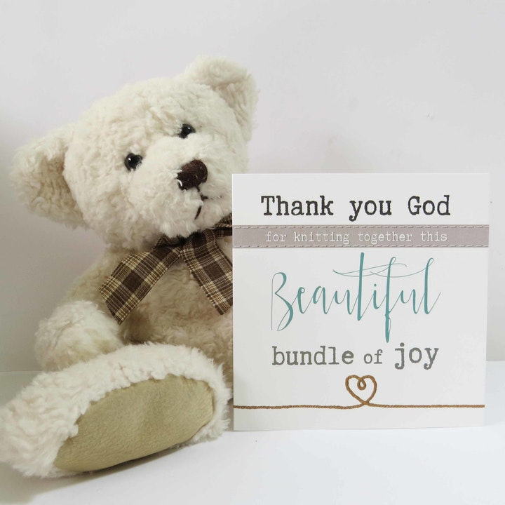 'Thank You God' New Baby Card - Psalm 139:13 & James 1:17 - Forget-Me-Not Christian Cards