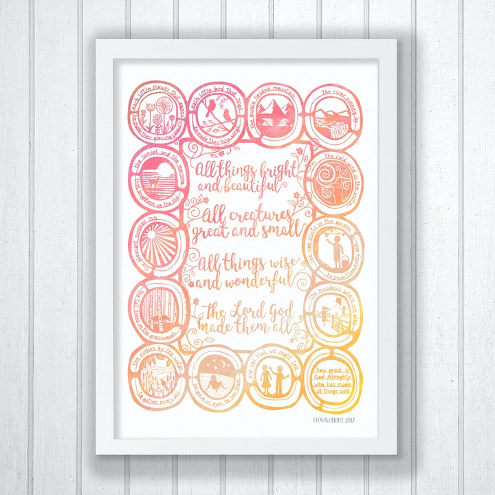All Things Bright And Beautiful - Hymn Print - Frog and Gnome