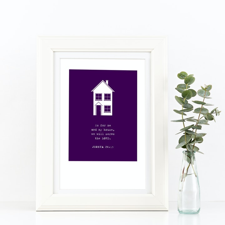 As For Me and My House A4 Print - Joshua 24v15 - Frog and Gnome