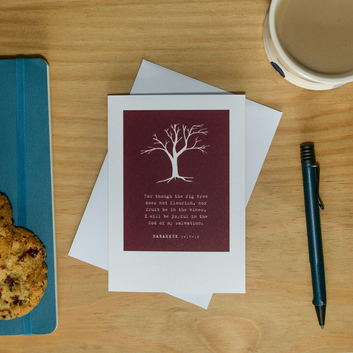 Fig Tree Greeting Card - Habakkuk 3v17-18 - Frog and Gnome