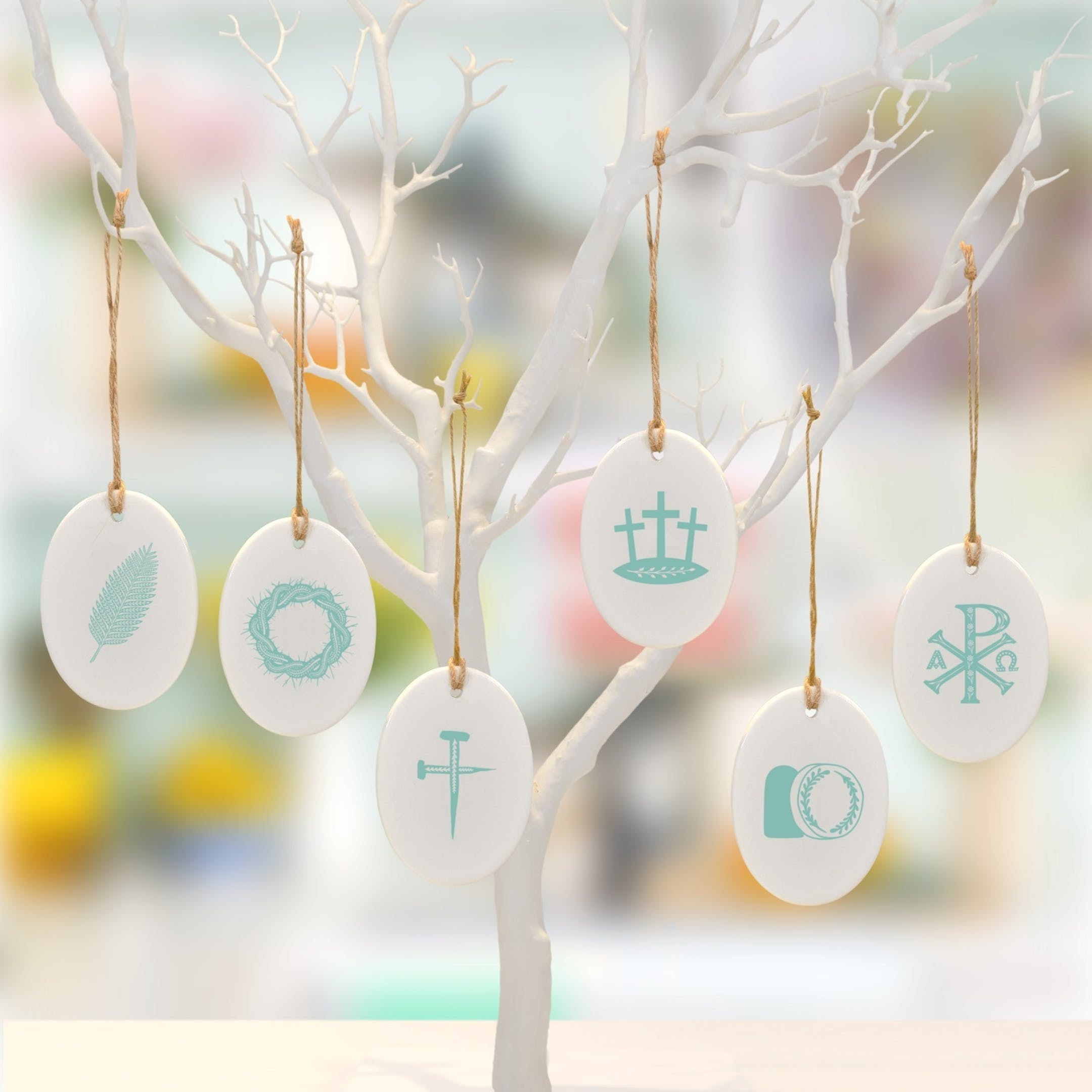 Teal Ceramic Folksy Easter Decorations by Frog and Gnome at Cheerfully Given