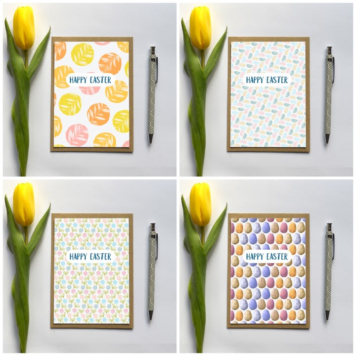 Happy Easter Cards - Set of 4 - Frog and Gnome