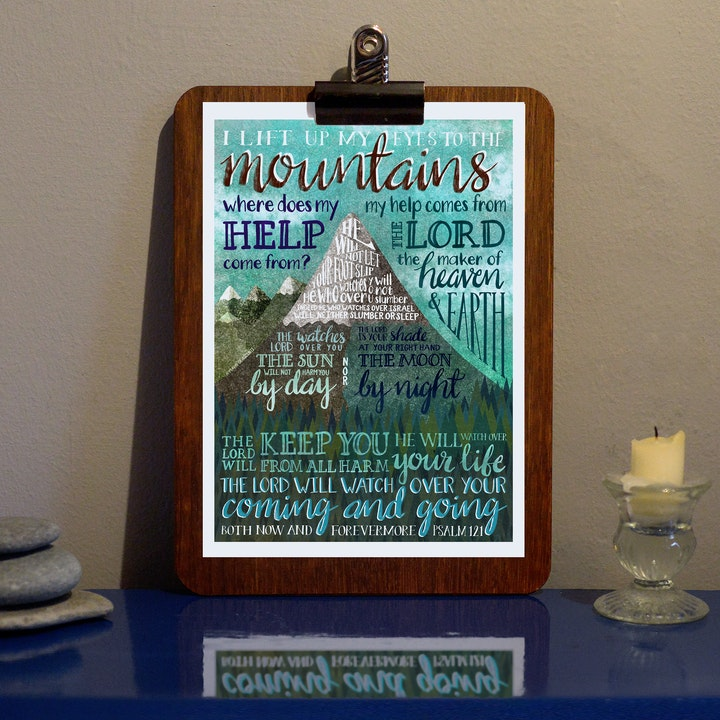 I Lift My Eyes To The Mountain Colour Print - Psalm 121 - Frog and Gnome
