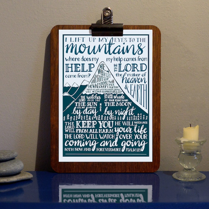 I Lift My Eyes To the Mountain Monochrome Print - Psalm 121 - Frog and Gnome
