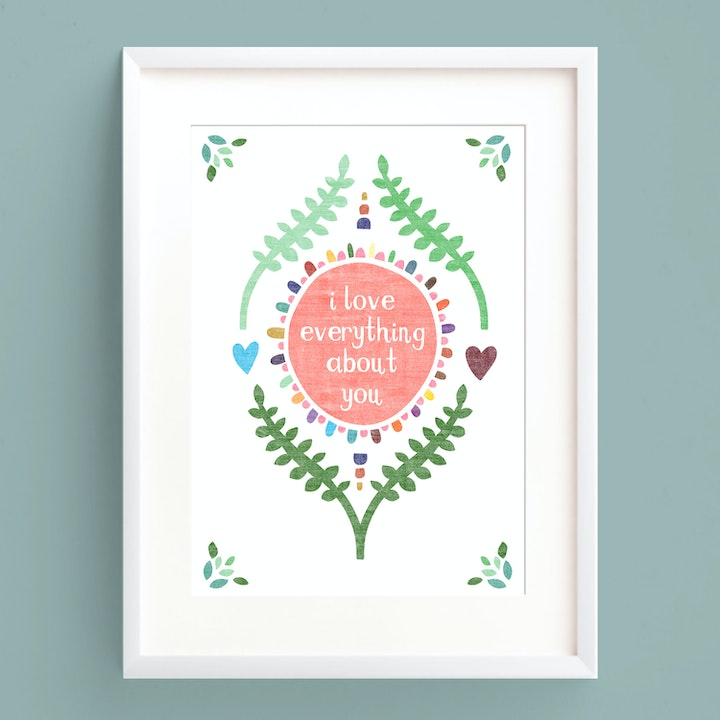 I Love Everything About You A5 Print - Frog and Gnome