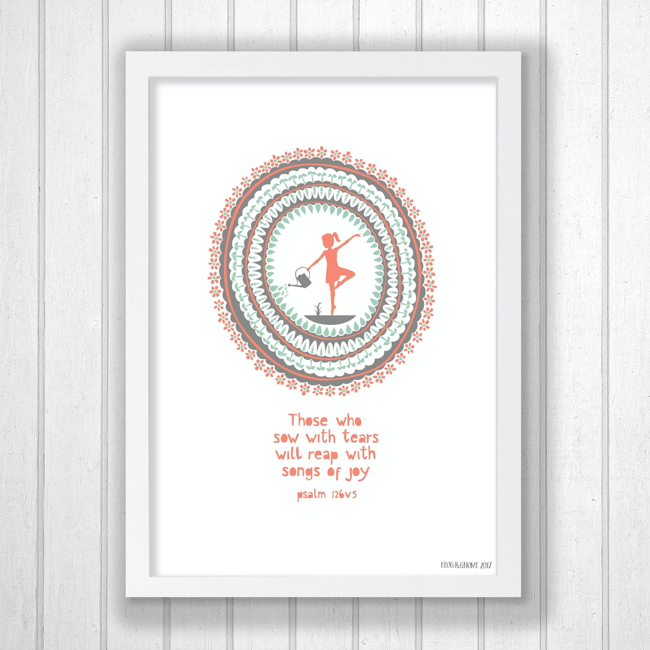 Joyful Dance Print - Psalm 126:5 - Frog and Gnome