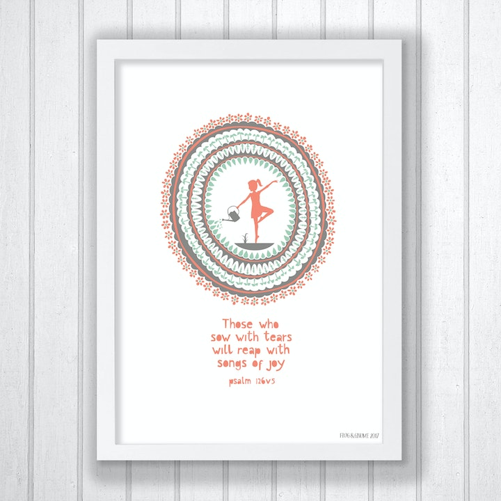 Joyful Dance Print - Psalm 126:5 - Frog and Gnome