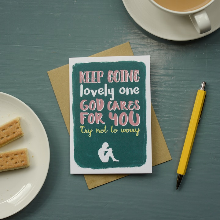 Keep Going Greeting Card - Frog and Gnome