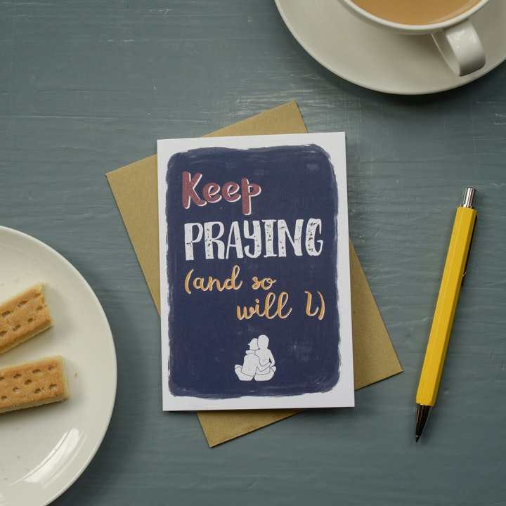 Keep Praying Greeting Card - Frog and Gnome