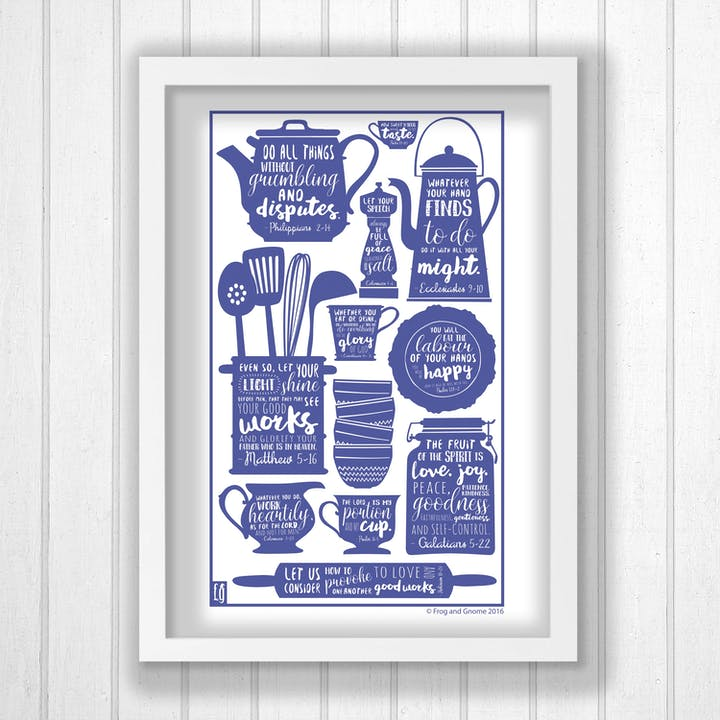 Kitchen Bible Verses Print - Frog and Gnome