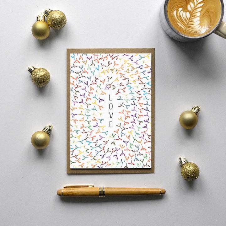LOVE Christmas Card - Frog and Gnome