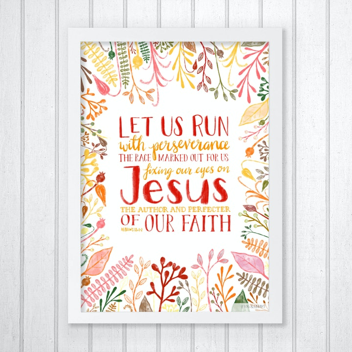 Let Us Run A4 Print - Hebrews 12:1-2 - Frog and Gnome