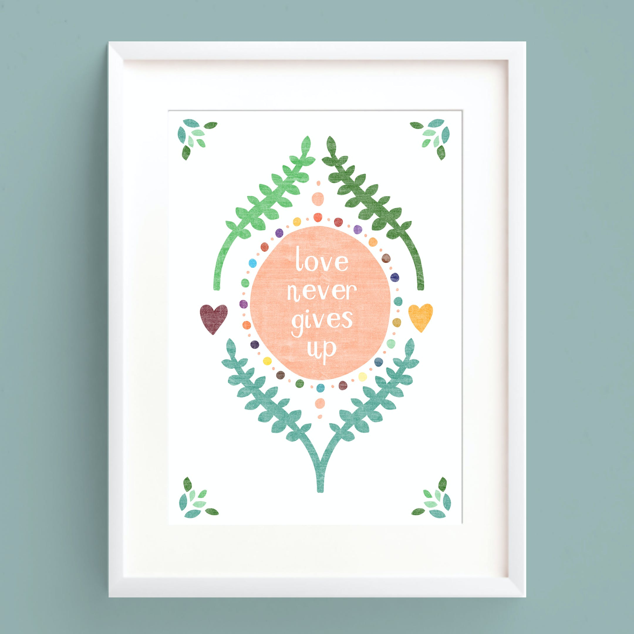 Love Never Gives Up A5 Print - 1 Corinthians 13 - Frog and Gnome