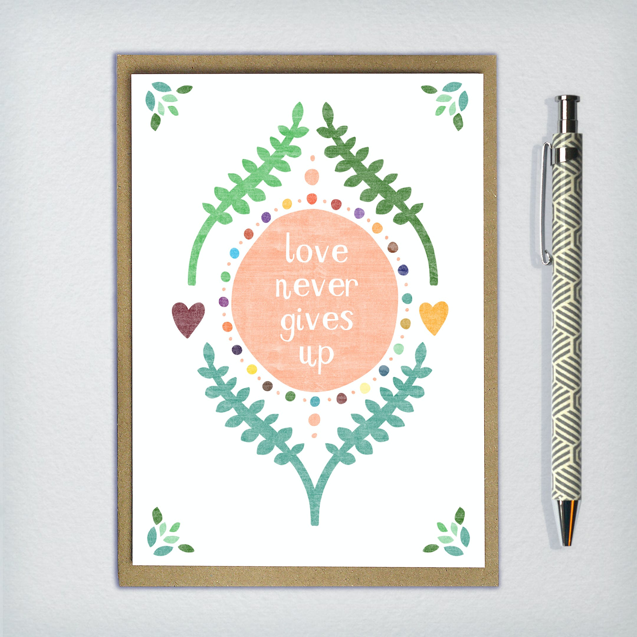 Love Never Gives Up Greeting Card - 1 Corinthians 13 - Frog and Gnome