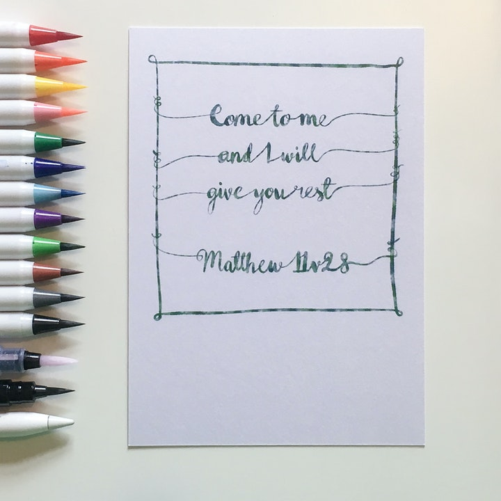 Matthew 11:28 - Hand Lettered Postcard - Frog and Gnome