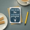 Praise the Lord for Answered Prayers Greeting Card - Frog and Gnome