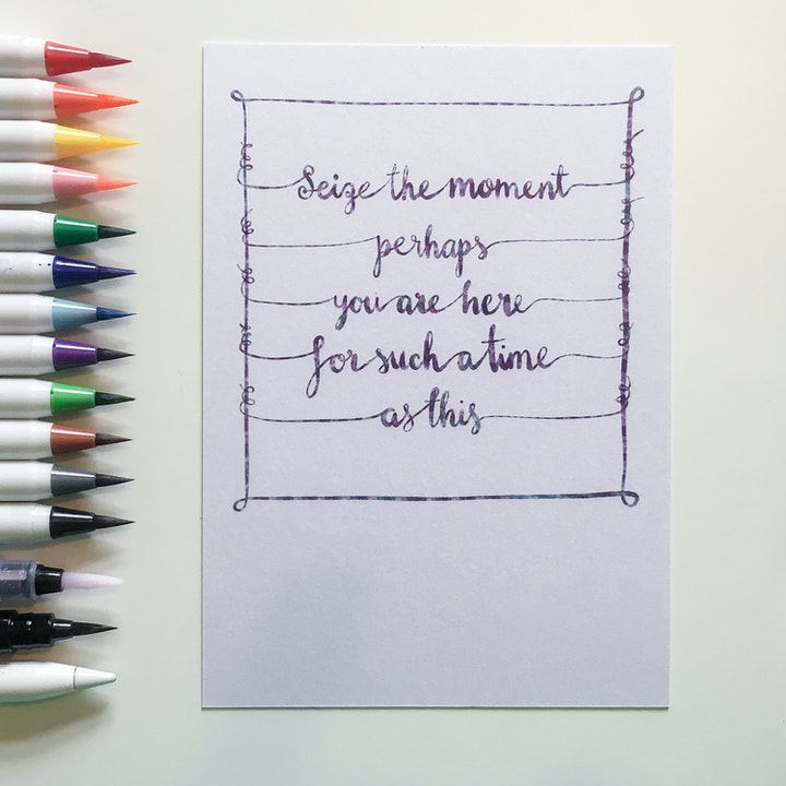 Seize the moment - Hand Lettered Postcard - Frog and Gnome