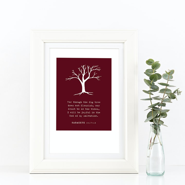 The Fig Tree A4 Print - Habakkuk 3v17 - Frog and Gnome