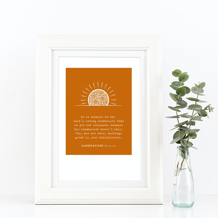 The Lord's Loving Kindness A4 Print - Lamentations 3v22-23