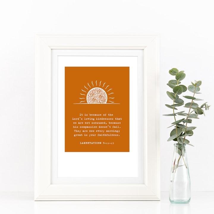 The Lord's Loving Kindness A4 Print - Lamentations 3v22-23