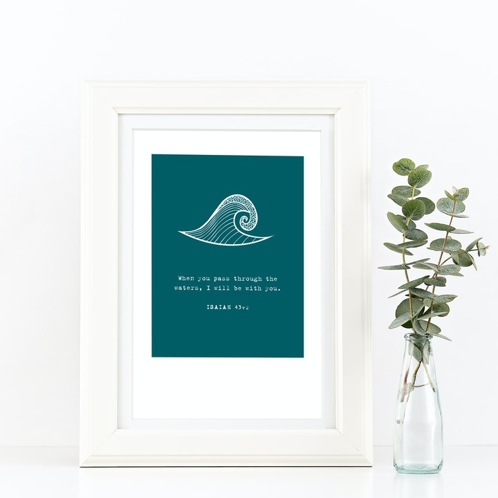 When You Pass Through The Waters A4 Print - Isaiah 43v2 - Frog and Gnome