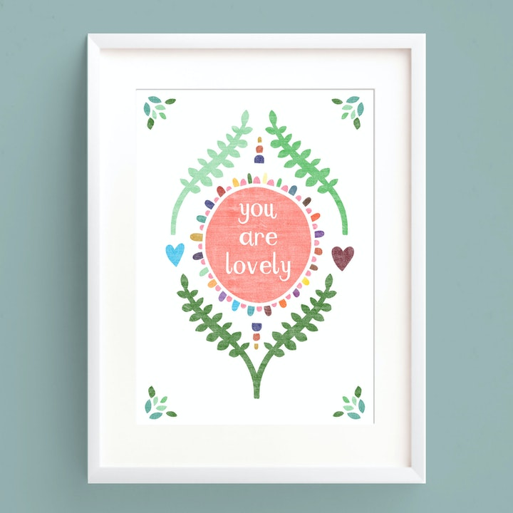 You Are Lovely A5 Print - Frog and Gnome