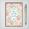 You Are So Loved Greeting Card - folksy design - Frog and Gnome