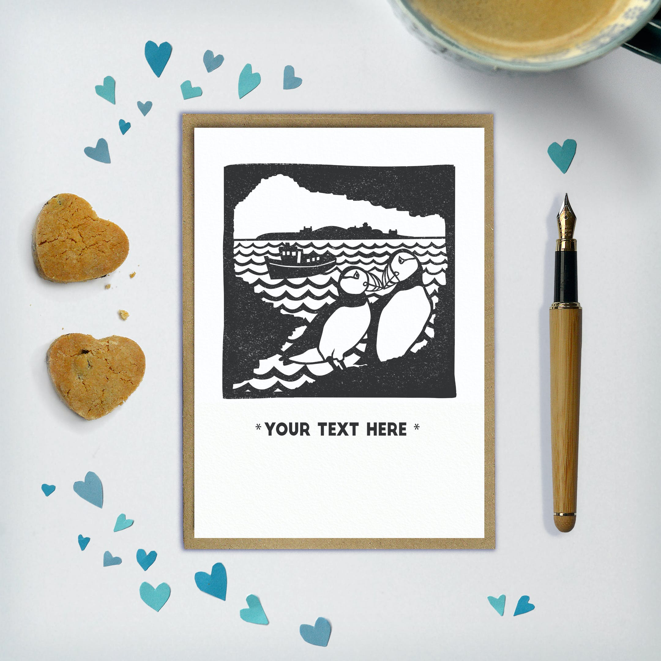 Your Text Here - Puffin Card - Frog and Gnome