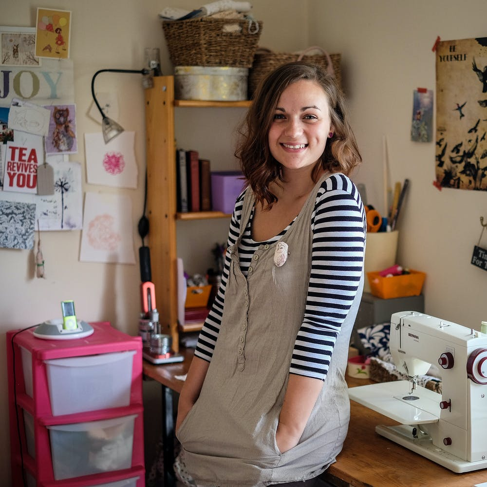 Grace Gatley Textiles next to sewing machine in craft room   Cheerfully Given