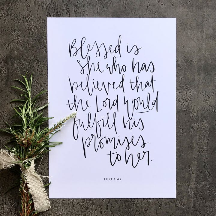 A5/A4 Blessed is She Print - Luke 1:45 - Hope and Ginger