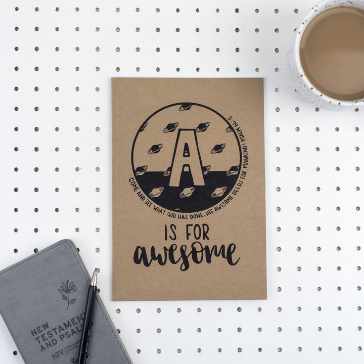 A5 Bible Alphabet Journal - A is for Awesome - Psalm 66:5 - Hope and Ginger