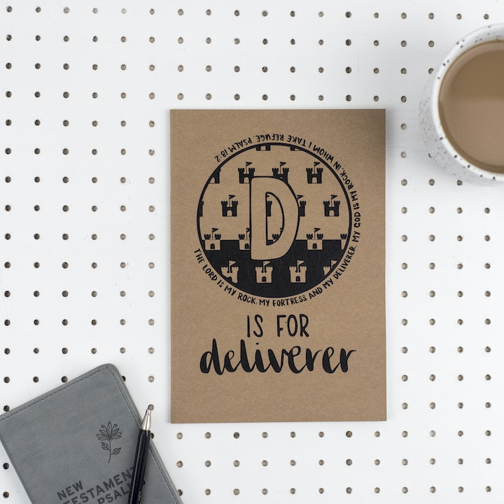 A5 Bible Alphabet Journal - D is for Deliverer - Psalm 18:2 - Hope and Ginger