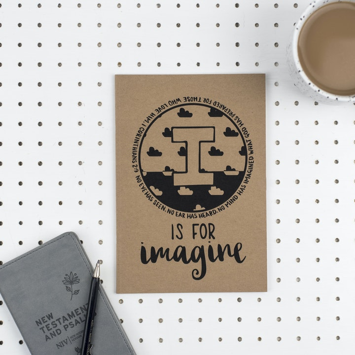 A5 Bible Alphabet Journal - I is for Imagine - 1 Corinthians 2:9 - Hope and Ginger
