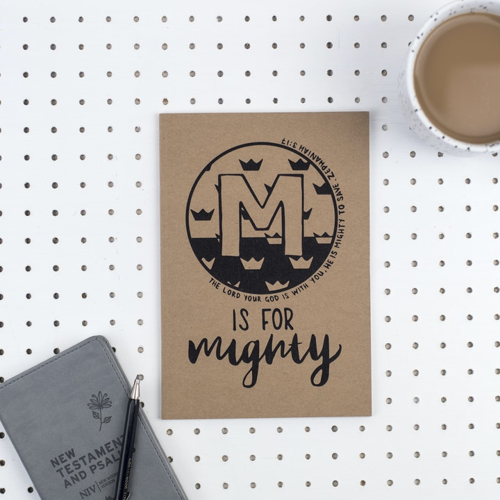 A5 Bible Alphabet Journal - M is for Mighty - Zephaniah 3:17 - Hope and Ginger
