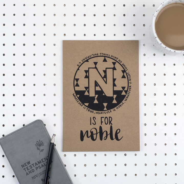 A5 Bible Alphabet Journal - N is for Noble - Philippians 4:8 - Hope and Ginger