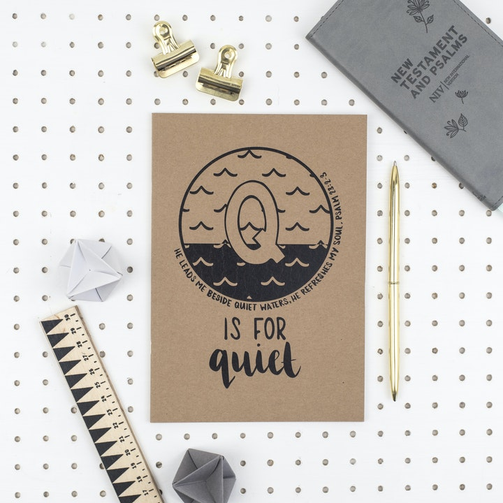 A5 Bible Alphabet Journal - Q is for Quiet - Psalm 23:2-3 - Hope and Ginger