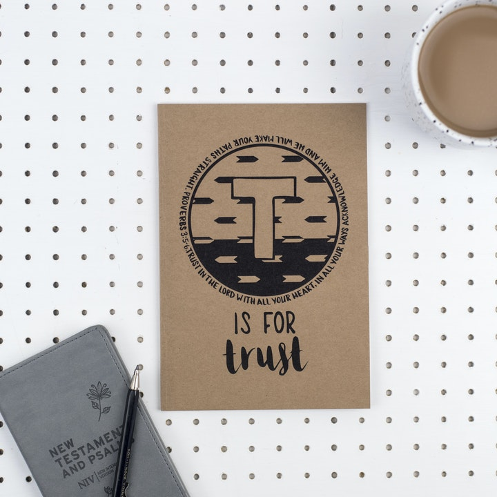 A5 Bible Alphabet Journal - T is for Trust - Proverbs 3:5-6 - Hope and Ginger