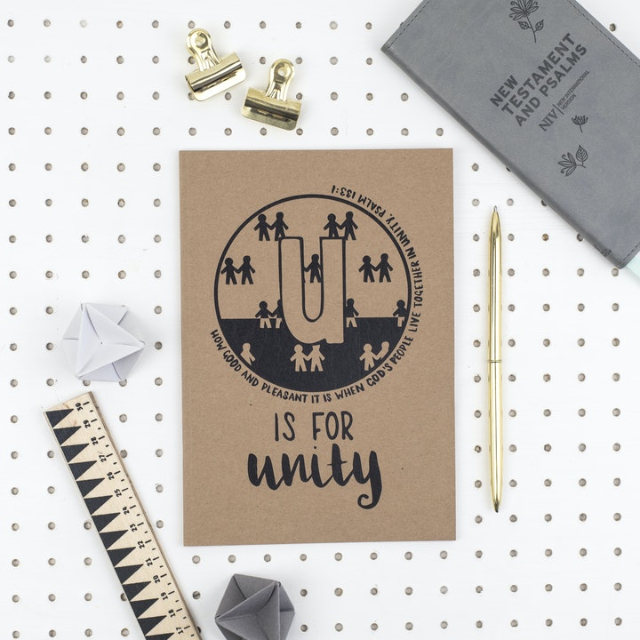 A5 Bible Alphabet Journal - U is for Unity - Psalm 133:1 - Hope and Ginger