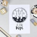 Bible Alphabet Print - Letter H - Hebrews 6:19 - Hope and Ginger